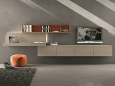 Sectional wall-mounted TV wall system I-modulArt - 297 by Presotto Industrie Mobili design Pierangelo Sciuto Tv Wall Design, Tv Unit Design, Wall Storage Systems, Wall Mounted Desk, Ikea Living Room, Home Renovation, Interior Design, Furniture, Home Decor