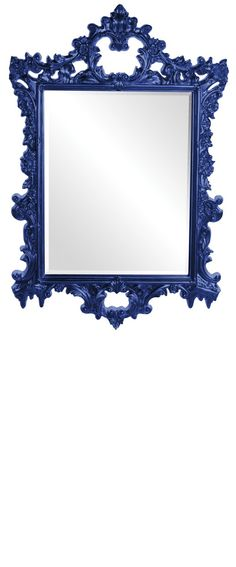 """Wall Mirrors, Grand 47"""" Tall Baroque Mirrors, Royal Blue High Gloss Lacquer, so beautiful, inspire your friends and followers interested in luxury interior design & gifts with more beautiful accents like this from InStyle Decor Beverly Hills, Luxury Designer Furniture, Mirrors, Lighting, Art, Accents & Gifts, over 3,500 inspirations to choose from and share with our simple one click Pinterest Pin button enjoy & happy pinning"""