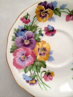 vintage Tea Saucer with Colourful Pansies Queen by dollyjayne