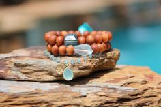 Aqua Yoga Bracelet Set Tassels Wire Wrapped by HappyGoLuckyJewels, $93.00