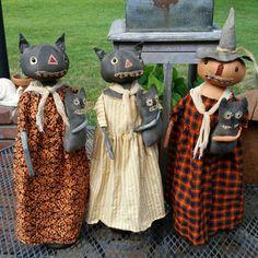 Primitive Halloween cat and pumpkin dolls
