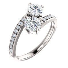 14K White Forever One™ Moissanite and 1/5 CTW Diamond Engagement Ring