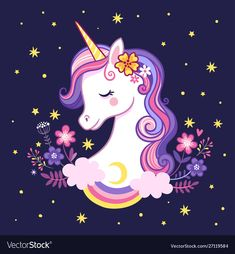 Buy Unicorn on a Purple Background with Stars by svaga on GraphicRiver. Cute unicorn on a purple background with stars and flowers. Vector illustration in cartoon style. Unicorn Painting, Unicorn Drawing, Unicorn Art, Magical Unicorn, Purple Unicorn, Unicorn Images, Unicorn Pictures, Cute Animal Drawings, Cute Drawings