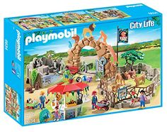 Playmobil – 6634 – Le Zoo – Grand: Regarde ! Le soigneur apporte de la nourriture aux lions ! Grand zoo de Playmobil avec sept personnages,…