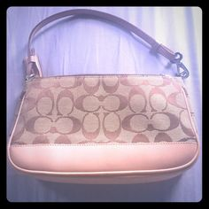 Brown Coach Purse With Fabric And Leather Combo