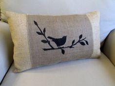 songbird hand painted burlap lumbar pillow by pineconeshoppe Burlap Pillows, Sewing Pillows, Decorative Pillows, Bird Pillow, Heart Pillow, Pillow Talk, Cushion Covers, Throw Pillow Covers, Throw Pillows