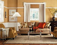 Beige Living Room With Accent Colors