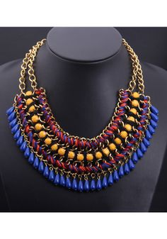 Gold Double Chain Necklace - Blue+Yellow - lookbookstore.co