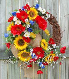 Wildflower Field of Italy Poppy and Sunflower Wreath Summer