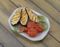 Shay Aaron's superbly realistic Grilled Eggplant Boats with Roasted Tomato Halves - 1:12 Dollhouse Miniature Food