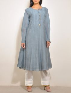 Grey-Gold Chanderi Anarkali. Jaypore
