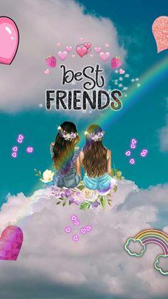 Internet Best Friends, Best Friends Cartoon, Friend Cartoon, Cute Friends, Girl Cartoon, Bff Images, Best Friend Images, Cute Friend Pictures, Friends Sketch