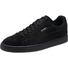Puma Suede Embossed Iced Men's Sneakers ($70) ❤ liked on Polyvore featuring men's fashion, men's shoes, men's sneakers, black, mens metallic gold sneakers, mens lace up shoes, mens shoes, mens woven shoes and mens black shoes