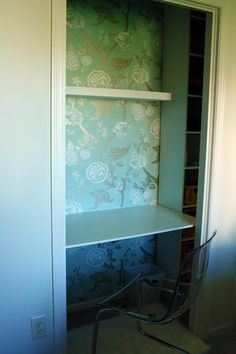 closet desk - IHeart Organizing: August Featured Space: Bedroom - Conquering Closets {part Closet Turned Office, Make A Closet, Closet Desk, Closet Vanity, Bed In Closet, Bathroom Linen Closet, Desk Shelves, Shelf, Master Room