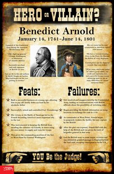 Benedict Arnold: Hero or Villain? Mini-Poster - Benedict Arnold: Hero or Villain? Mini-Poster, Social Studies: Teacher's Discovery - Study History, History Education, History Teachers, Teaching History, Us History, History Facts, History Posters, World History Lessons, Teaching American History