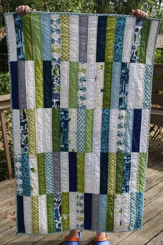great boys quilt -love the strips instead of squares! would look nice ragged too
