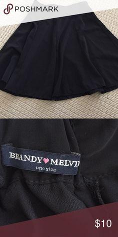 Black skater Brandy Melville skirt Zipper in back Brandy black rayon silky like skater skirt great condition one size. Band waist. Brandy Melville Skirts Circle & Skater