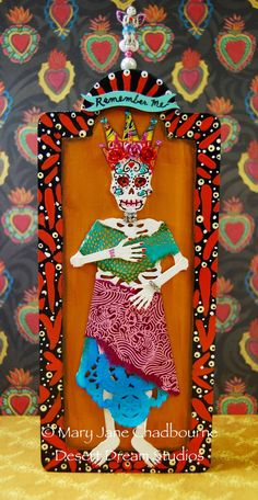 Remember Me Day of the Dead Retablo by desertdreamstudios on Etsy Day Of The Dead Art, Mexican Folk Art, Mexican Crafts, All Saints Day, Collage, Skull Art, Scrapbook, Box Art, Sugar Skull
