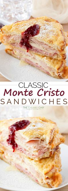 Classic Monte Cristo Sandwiches Such a fun and delicious meal. the monte cristo sandwich can be controversial. People either love it or hate it. I Love Food, Good Food, Yummy Food, Delicious Meals, Great Recipes, Favorite Recipes, Soup And Sandwich, Ham Sandwich Recipes, Cuban Sandwich