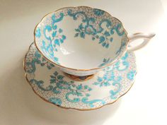 Royal Stafford Tea Cup and Saucer, Tea Set, Antique Teacups, Aqua Gold Tea Cups, English Bone China Tea Cups, Antique Tea Cups, Hand Painted