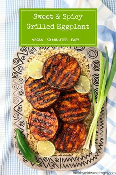 Sweet & Spicy Grilled Eggplant - Recipes Instant Sweet & Spicy Grilled Eggplant is a hot and saucy recipe where this versatile aubergine veggie shines as a main dish. Grilled Eggplant Recipes, Vegan Eggplant Recipes, Vegan Dinner Recipes, Vegan Dinners, Whole Food Recipes, Healthy Recipes, Aubergine Recipe Healthy, Grilled Vegan Recipes, Vegetarian Meals