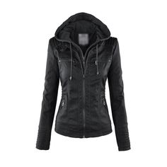 Hooded Collar Pocket Design Black Jacket ($58) ❤ liked on Polyvore featuring outerwear, jackets, coats, black, 100 leather jacket, zipper leather jacket, genuine leather jacket, leather zip jacket and real leather jacket