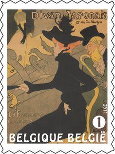 Postzegel: Henri de Toulouse-Lautrec: Divan japonais (België) (Henri de Toulouse-Lautrec) Mi:BE 4194,Yt:BE 4129,Bel:BE 4148