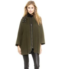 Vince Leather-Trimmed Cape // #Shopping