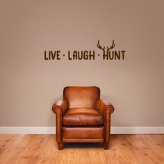 It's all about sports with this Live Laugh Hunt Wall Decal. This 'Live, Laugh, Hunt' decal, complete with antlers, is perfect for your man cave or sports room. This decal is great for the family that Sports Wall Decals, Large Wall Decals, Vinyl Wall Decals, Wall Stickers, Media Wall, Living Room Bedroom, Rustic Furniture, Art Decor, Deer Decor