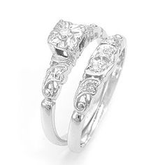 Custom Made Antique Inspired Round Diamond Wedding Ring And Band In 14k White Gold