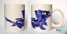 """Taza mug """"entrenar a tu dragón - Desdentado"""" pintada a mano Aniramnoc"""