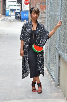 Summer Outfit Idea, Oversized Shirt Dress, Watermelon Bag, Sweenee Style