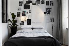 black & white bedroom; love the simplicity