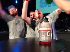 Gatorade Flip Out - Fun Ninja Youth Group Games Tweak the rules: Make it single player, not teams, and who ever has their bottle on the table after 60 seconds advances. Have USED gatorade bottles with water and food coloring.... cheaper??