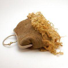 Felt purse Wild Curls ooak  khaki plant dyed felted bag  by Rasae, $69.00