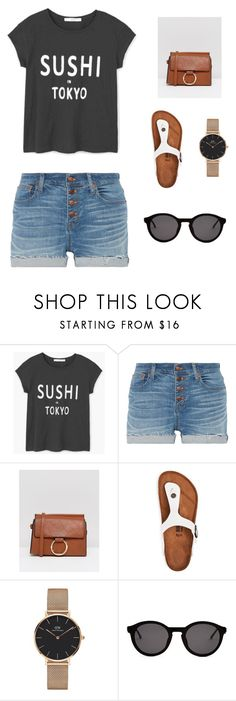 """""""Untitled #3"""" by icy-anabo on Polyvore featuring MANGO, Madewell, Yoki, Birkenstock, Daniel Wellington and Thierry Lasry"""