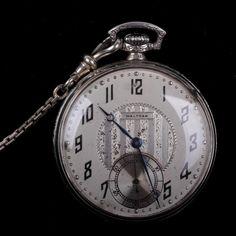 Man's White Gold Waltham pocket watch