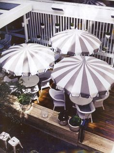 Delightful Sunshades / Now This Is What I Call Outdoor Chic #blackandwhite #stripes. White  UmbrellaUmbrella ...