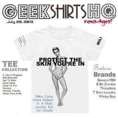 The latest GSHQ news! Headlines from @beware1984 @Angela Hanson @TShirt Laundry @Winky Boo® and #MileyCyrus poses nude on a tee! http://www.geekshirtshq.com/geek-tshirts/miley-cyrus-poses-naked-in-a-marc-jacobs-tee-for-charity