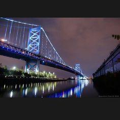 The Ben Franklin Bridge in Philadelphia. Photo by kowalibear #Philadelphia #Photography #reflection