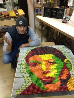 A fan made this Skittle portrait at work. Only to have Jensen Ackles actually come in one day. NEW PLAN: WE ALL MAKE SKITTLES POTRAITS OF JENSEN ACKLES. #SupernaturalCast
