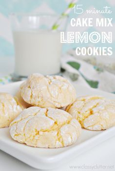 Lemon Cake Mix Cookies - these cookies were quick and delightful! Jim even liked them, and he never likes my cookies. I used lemon cake mix.