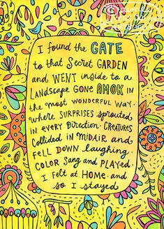 """Secret Garden"" by Artsyville. The importance of retreating to our happy hiding place! Featured in the mixed-media book The Artist Unique by Carmen Torbus. Illustration and text © Aimee Myers Dolich. artsyville.etsy.com."