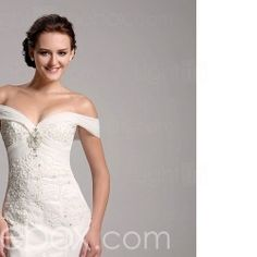 Trumpet/ Mermaid Off-the-shoulder Organza Over Satin Wedding Dress With Removable Chapel Train  Item ID #00140967 #LIGHTINTHEBOX