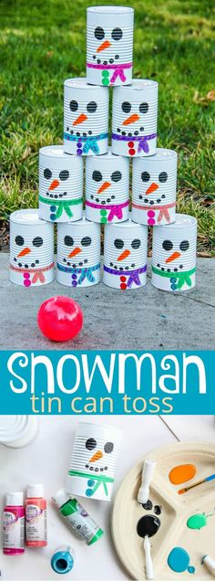 DIY Snowman Tin Can Toss - Fun Winter Activity For Kids Are you looking for a fun winter activity for kids? You will all love this DIY Snowman Tin Can Toss game. Preschool Christmas Games, Christmas Activities For Kids, Outdoor Activities For Kids, Winter Crafts For Kids, Winter Fun, Crafts For Teens, Diy For Kids, Christmas Fun, Winter Games