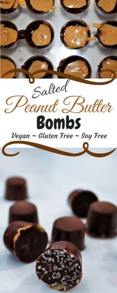 These Salted Chocolate Peanut Butter Bombs are the easiest way to make a vegan peanut butter cup. They are gluten and dairy free and can be made in minutes. http://thehiddenveggies.com