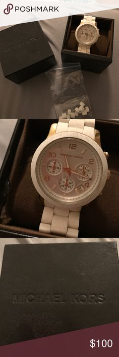 Michael Kors watch New Michael kors watch with extra links in box only worn a few times , may need a new battery soon.  Works amazing !!! Need money to get my cat surgery so everything must go sale KORS Michael Kors Accessories Watches