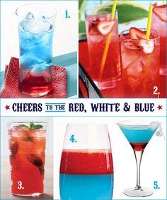Patriotic drinks!                  4th of July Brunch ideas from HWTM          Cocktail Ideas        1. Fourth of July Cocktail from Guy Fieri  A thin slice of jalapeno or serrano pepper adds a fiery kick to this tequila-based cocktail, which gets it's pretty colors from cranberry juice, watermelon schnapps, and blue curacao.  {via Food Network}      2. Strawberry Sucker  Strawberry schnapps, vodka, and club soda make up this sweet & fizzy afternoon drink. Add a skewer of blueberries for a splash of blue!  {via Racha...