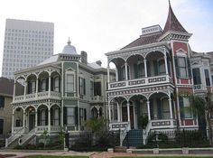 Galveston, Texas  Victorian houses on Postoffice Street. Postoffice Street was once the notorious 'red light district' of the island.