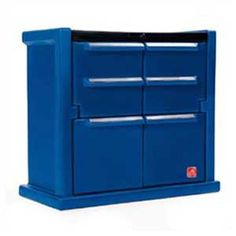 Tool Chest Dresser Double-wall poly construction is durable and maintenance-free Doors open to reveal molded-in interior shelf Real Racing Decals included Kids Storage Bins, Toy Storage Boxes, Tool Storage, Toy Boxes, Locker Storage, Storage Ideas, Plastic Dresser, Mechanic Tool Box, Sports Games For Kids